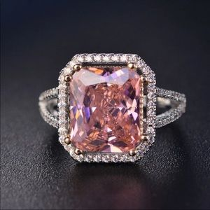 Jewelry - TOPAZ AND SILVER beautiful pink large stone ring